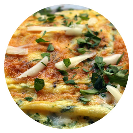 Omelet with Fresh Herbs & Romano Cheese