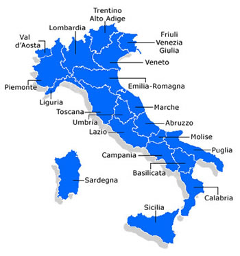 Map North Italy Regions.North South Central Regions Of Italy